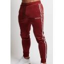 Men's New Fashion Contrast Stripe Side Logo Printed Casual Slim Cotton Jogging Pants Sports Pencil Pants