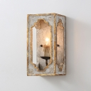 Wood Box Flush Wall Sconce Vintage 1 Bulb Kitchen Wall Mounted Lamp in Light Grey