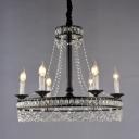 Crystal Strand Black Ceiling Chandelier Candle 4/6/8 Lights Vintage Hanging Pendant for Dining Room
