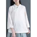 Elegant Women's Shirt Blouse Solid Color Contrast Stitching Frog Button Stand Collar Side Split 3/4 Sleeves Regular Fitted Blouse