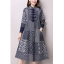 Vintage Women's A-Line Dress Contrast Panel All over Print Frog Button Detail Stand Collar Long Sleeves Regular Fitted Midi A-Line Dress