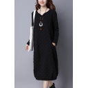 Casual Women's Swing Dress Quilted Front Pockets Long Sleeves V Neck Regular Fitted Swing Dress