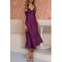 Women's New Trendy Cutout Front Knotted Detail Simple Plain Midi Silk Cami Dress