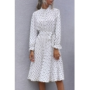 Fashion Polka Dot Patterned Long Sleeve Mock Neck Bow-tied Waist Mid Pleated A-line Dress for Ladies