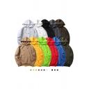 Trendy Men's Hoodie Solid Color Kangaroo Pocket Long Sleeves Relaxed Fit Brushed Hooded Sweatshirt