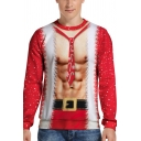 Guys Popular Sweatshirt Abs Belt Outfit 3D Printed Long Sleeve Crew Neck Relaxed Fit Pullover Sweatshirt in Red