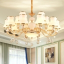 Gold 3/6/15 Lights Pendant Light Fixture Traditional Flare Milky Glass Chandelier with Decorative Crystal