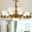 Antiqued Brass 6/8/10-Bulb Chandelier Traditional Frosted White Glass Flower Hanging Ceiling Light