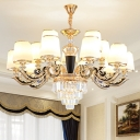 Prismatic Crystal Tier Chandelier Traditional 10/12/15-Bulb Bedroom Hanging Light with Conic White Glass Shade