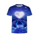 Elegant Mens Tee Top Dolphin Sweetheart Moon 3D Pattern Crew Neck Short-sleeved Regular Fitted T-Shirt