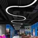 Acrylic C Shaped Suspension Lighting Creative Modern Black LED Ceiling Pendant Light, 16