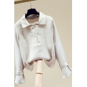 Basic Women's Shirt Blouse Solid Color Button Fly Spread Collar Long Flare Cuff Sleeves Regular Fitted Shirt Blouse