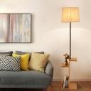 Drum Bedside Reading Floor Lamp Fabric Single Nordic Floor Light with Wood Shelf in Beige/Brown