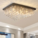 Nickel Rectangle Flush Light Fixture Modernism 14 Heads Crystal Rod Ceiling Lamp