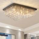 Nickel Rectangle Flush Light Fixture Modernism 14 Heads Crystal Rod Ceiling Lamp