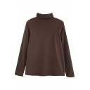 Casual Womens Tee Top Solid Color Long Sleeves Turtle Neck Regular Fitted T-Shirt