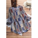 Vintage Women's Blouse Color Block Stripe Pattern Round Neck Long Sleeves Relaxed Fit Cotton and Linen Pullover Blouse