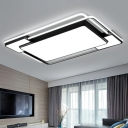 Contemporary LED Flush Mount Lamp Black Rectangular/Square Ceiling Light with Acrylic Shade, Warm/White/3 Color Light