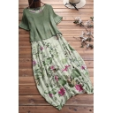 Leisure Women's Dress Floral Pattern Cotton and Linen Round Neck Short Sleeves Regular Fitted Dress