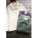 Trendy Women's Jacket Solid Color Corduroy Side Pocket Button Closure Point Collar Long Sleeves Regular Fitted Jacket