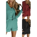 Pretty Ladies Co-ords Plain Ribbed Long Sleeve V-neck Button Up Knit Relaxed Cardigan & Shorts Set