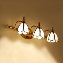 2/3 Lights Scalloped Vanity Lamp Traditional Brass Milk Glass Wall Mount Light Fixture