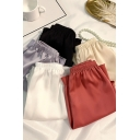 Trendy Ladies Shorts Solid Color Elastic Waist Relaxed Fit Shorts
