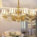 Colonial Flared Shade Indoor Light 1/2/12-Head Satin Opal Glass Lighting Fixture in Gold for Living Room