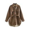 Trendy Women's Leather Jacket Solid Color Flap Pocket Side Split Turn-down Collar Long Sleeves Regular Fitted Leather Jacket with Belt