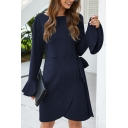 Trendy Dress Bell Sleeve Crew Neck Tied Waist Plain Short Wrap Dress for Girls