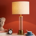 Cylinder Nightstand Light Simplicity Fabric 1-Light White/Flaxen Table Lamp with Clear Glass Column