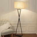 Drum Shade Floor Standing Lamp Nordic Fabric 1 Bulb Black/White Floor Light with Hourglass Shaped Base