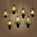 Black 1-Light Bonsai Hanging Pendant Lodge Iron Square/Rectangle/Round Shaped Ceiling Suspension Lamp