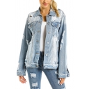 Fashion Womens Jacket Bleach Distressed Long Sleeve Spread Collar Button Up Relaxed Denim Jacket in Blue