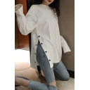 Stylish Women's Tee Top Solid Color Button Detail Side Split Long Sleeves Round Neck Relaxed Fit T-Shirt