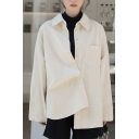 Leisure Women's Shirt Solid Color Chest Pocket Button Closure Turn-down Collar Long Sleeves Regular Fitted Shirt Blouse