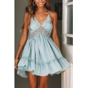 Amazing Ladies Dress Plain Lace Patched Deep V-neck Open Back Ruffled Short Pleated Flared Cami Dress