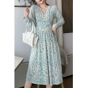 Trendy Women's A-Line Dress Floral Pattern Pleated Long Puff Sleeves Button Front Long Puff Sleeves Fitted Midi A-Line Dress