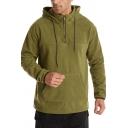 Stylish Men's Hoodie Solid Color Front Pocket Long Sleeves 1/4 Zip Collar Drawstring Hooded Sweatshirt