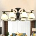 Black/Gold Bell Semi Flush Light Traditional Ivory Glass 3/8/10-Bulb Living Room Ceiling Mount Chandelier