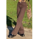 Vintage Women's Pants Plain High Rise Side Pocket Long Relaxed Fit Pants