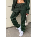 Leisure Women's Pants Solid Color Corduroy Side Pocket Zip Fly Relaxed Fit Long Pant