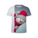 Christmas T Shirt Snowman Tree 3D Print Short Sleeve Crew Neck Regular Tee Top for Men