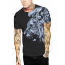 Cool Tee Top 3D Lion Printed Short Sleeve Crew Neck Slim Fit T Shirt for Men