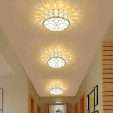 Round Flush Mount Ceiling Light Fixture Simplicity Crystal White/Gold LED Flushmount in Warm/White Light/Third Gear, 5/9w