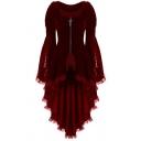 Womens Vintage Plain Blouse Bell Long Sleeve Round Neck Zipper Front Lace Panel High Low Hem Regular Blouse