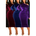 Leisure Women's Bodycon Dress Solid Color Velvet One Shoulder Long Bishop Sleeves Slim Fitted Midi Bodycon Dress