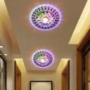 Clear Crystal Bloom Ceiling Lighting Modern Style LED Flush Mount Light Fixture in Purple/Blue/Multi-Color Light