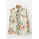 Unique Women's Shirt Blouse Tree Mountain Tree Pattern Button Closure Turn-down Collar Long Sleeves Regular Fitted Shirt Blouse