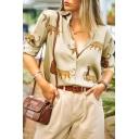 Retro Women's Shirt Leopard Animal Pattern Button-down Spread Collar Long Sleeves Regular Fitted Shirt Blouse
